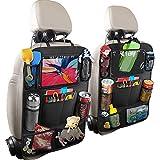 TWBEST Auto Rückenlehnenschutz,2 Stück Groß Auto Rücksitz Organizer für Kinder, 600D Oxford Stoff Wasserdicht Rücksitzschoner mit 12 Zoll iPad/Tablet-Tasche, Kick-Matten-Schutz für Autositz