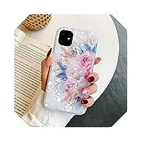 Aeongレトロフローラルリングスタンド電話ケースFor iPhone12 Mini 11 Pro Max XR XS Max X XS 7 8PlusケースソフトIMDドリームシェルカバー-i(No Ring)-For iPhone 11 Pro