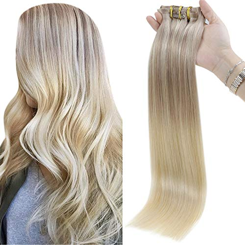 Full Shine Clip In Remy Human Hair Invisible Clip Ins 100 Grams 16 Inch 8 Pcs PU Tape Clip In Hair Balayage Color 18 Ash Blonde Fading To 22 and 60 Blonde Highlighted Seamless Clip In Hair Extensions