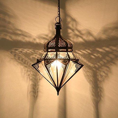 Casa Moro Orientalische Lampe aus Marokko Jawhara Transparent H 45 cm aus Metall & Glas | Kunsthandwerk aus Marrakesch | L1277