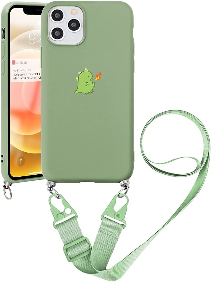 Pnakqil Crossbody Case Compatible with Samsung Galaxy F62 (4G) / M62 6.7 inch, Adjustable Lanyard Necklace Protective Cover with Soft TPU Shockproof Silicone Bumper Cases for Samsung M62, Dinosaur