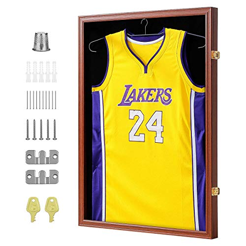 PROALLER Jersey Frame Display Case with Hanger, 98% UV Acrylic Protection Large Lockable Sport Shadowbox Baseball/Football/Basketball/Soccer/Hockey Sports Display Case, Mahogany