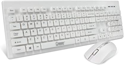 Wireless Keyboard and Mouse, Full-Size Keyboard and Mouse Combo, 2.4GHz Wireless Simple Connect, White