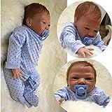 KKI 20 inch Poupée Reborn bébé Garcon en Silicone Souple Reborn Dolls Newborn Baby Dolls Enfants Xmas Gifts (Bleu)