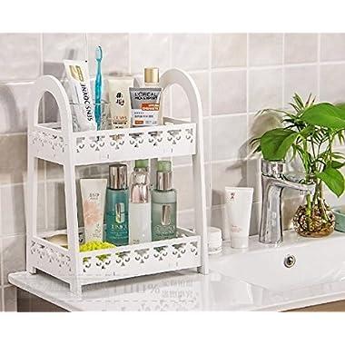 Mandydov European-style Double-layer Desktop Storage Rack Organizer Cosmetic Stationery Storage Holder for Kitchen Bathroom Office