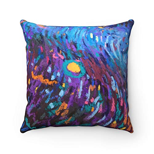 Promini Abstract Pillow Cover, Colorful Abstract Art, Purple Blue Paint, Bohemian Modern Pillowcase, Watercolor Decorative Couch Pillow Case Cushion for Sofa Home Decor 22 x 22 Inches