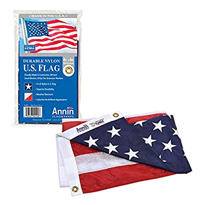 Annin Flagmakers Model 2220 American Flag Nylon SolarGuard NYL-Glo, 4x6 ft, 100% Made in USA with Sewn Stripes, Embroidered Stars and Brass Grommets