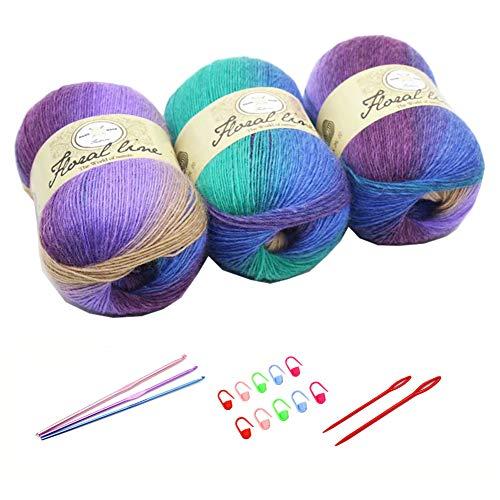 3 ovillos de lana arco iris de 100 g de lana gruesa de punto doble pompón de color grueso con 3...