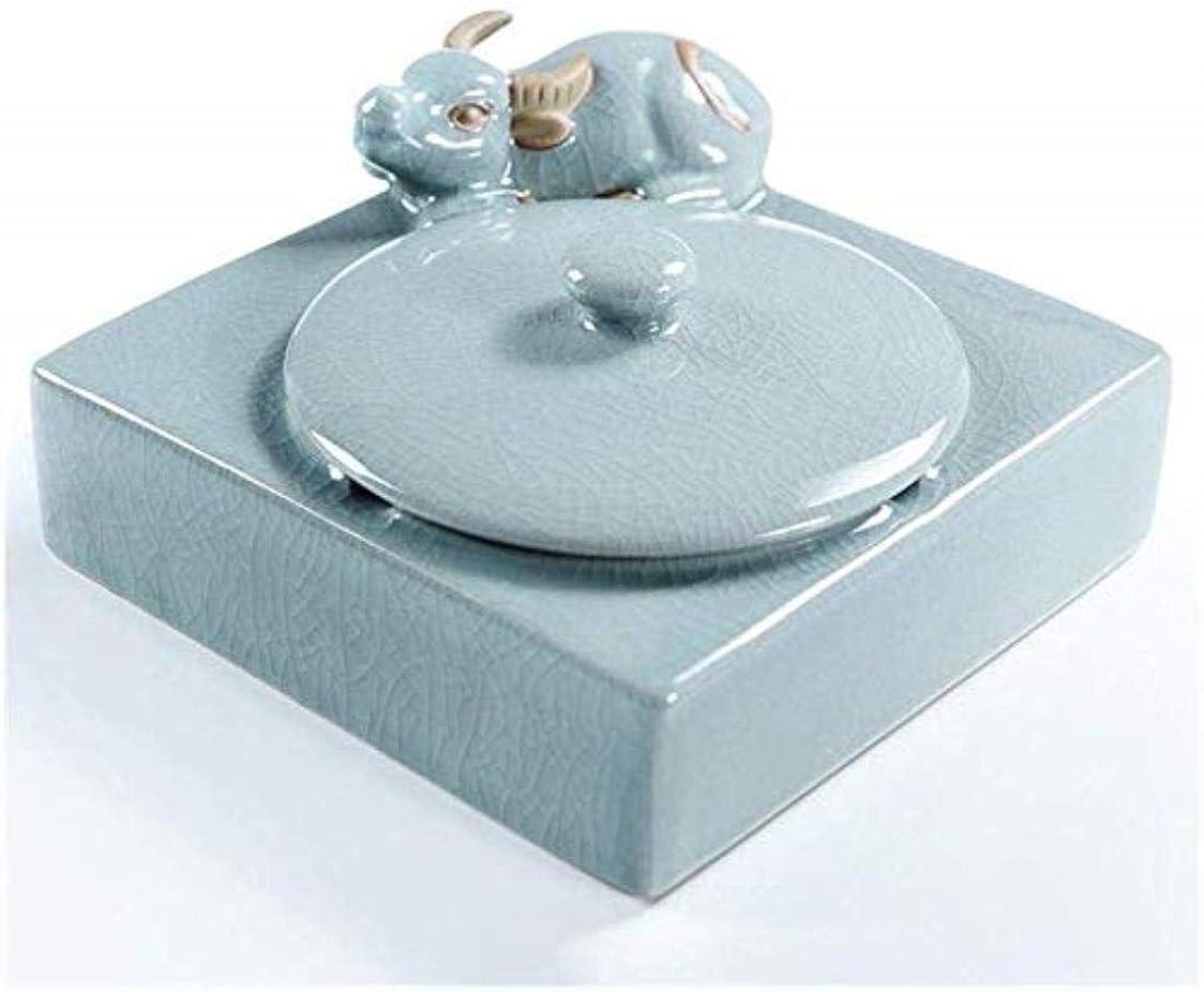 フィルタしつけ建物SLDLC セラミック灰皿付きのふたのシンプルでスタイリッシュなホーム創造茶道アクセサリーベッドルームリビングルームブル灰皿(カラー:インディゴ)、カラー:ブラック陶器 灰皿