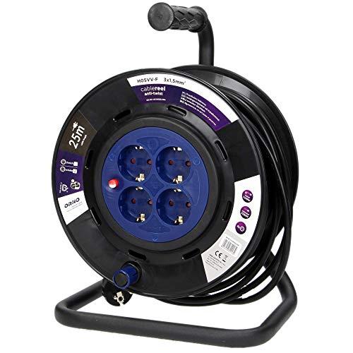 Preisvergleich Produktbild ORNO OR-AE-13154(GS) Kabeltrommel Außenbereich 25m / 50m 4-Fach 3200W Anti-Twist-Sockel-System (25m)