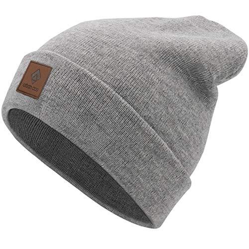 urban ace | Street Classics | Beanie, Mütze, mit Lederpatch | Damen, Herren | für das ganze Jahr, weicher Stoff (Grau)