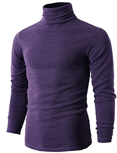 H2H Mens Basic Knit Turtleneck Long Sleeve Slim Sweater Jumper Purple US L/Asia 3XL (KMTTL028)