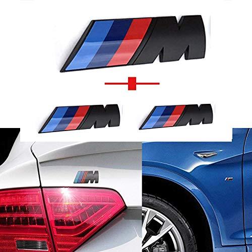 L&U M Schwarz 3pcs Tri Color Fender Side + Rear Trunk Emblems Logo Aufkleber-Abzeichen-Aufkleber für 1 3 5 7 Series E30 E36 E46 E34 E39 E60 E65 E38 X1 X3 X5 X6 Z3 Z4