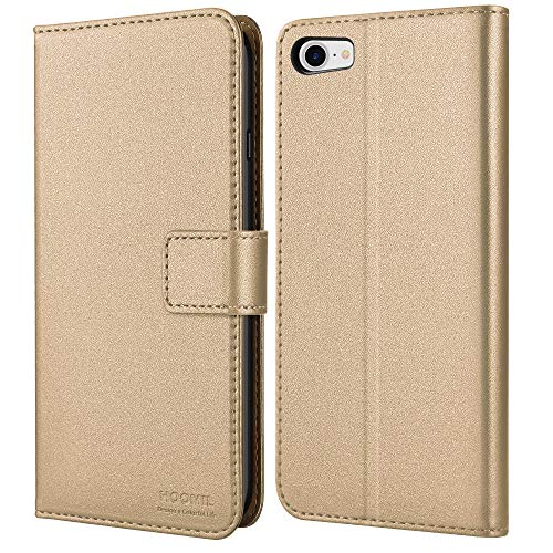 HOOMIL Handyhülle für iPhone SE 2020 Hülle Leder Tasche Flip Hülle Schutzhülle Kompatibel mit Apple iPhone 7/8/SE 2020 Cover (4,7 Zoll) - Gold