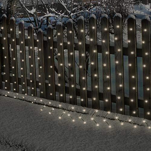 SHAND Gordijn kerstverlichting LED string waterdichte outdoor tuinverlichting, zonne-energie of batterij aangedreven, 8 soorten verlichting patroon, 120LEDs 3m * 1.2m snaar tuin licht omheining dek hu