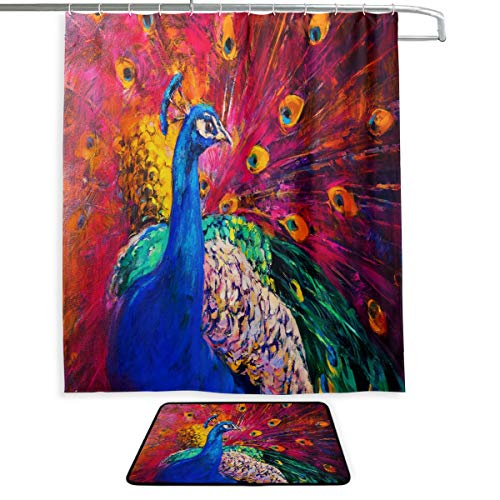 """Oil Painting Multicolored Peacock Waterproof Polyester Fabric Shower Curtain (60"""" x 72"""") Set with 12 Hooks and Bath Mats Rugs (23.6"""" x 15.7"""") for Bathroom - Set of 2"""