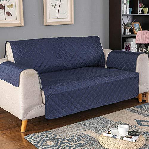 Funda de Fofá Elástica Antiácaros/Antiarrugas,Protector de sofá impermeable, de funda de sofá para mascotas / perros, funda de muebles antideslizante para sofá, suave y grueso-Azul marino_2 plaza