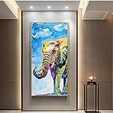 Geiqianjiumai Coloridas imágenes de Arte de Pared de Elefante y bebé, Sala de Estar Dormitorio Lienzo Pintura póster decoración Moderna del hogar Pintura sin Marco 60X120CM