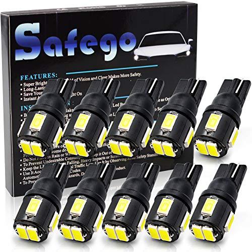 safego T10 LED ホワイト 爆光 ポジションランプ/ルームランプ LED T10 車検対応 12V 2W 10個入 1年間の保証