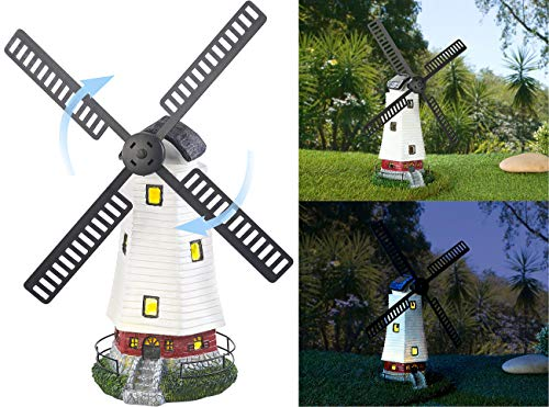 Lunartec Solarwindmühle: Solar-Deko-Windmühle mit drehendem Windrad & LED-Licht, 8-Stunden-Akku (Windrad mit LED Beleuchtung)