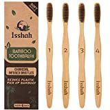 Isshah Biodegradable Organic Charcoal Infused BPA Free Bristles Natural Bamboo Toothbrush, Pack of 4 (Ultra Soft Bristles)