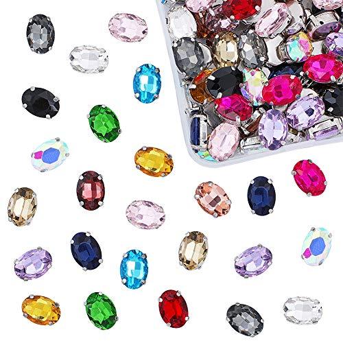 OLYCRAFT Coser en Diamantes de imitación Cristal Ovalado con Puntas Plateadas Copa Garra Plana de Colores Mezclados para Joyas, Disfraces, Vestidos y Zapatos