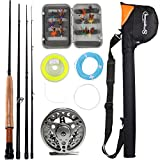 Sougayilang Saltwater Freshwater Fly Fishing Rod with Reel Combo Kit (Silver Kits with Bag)