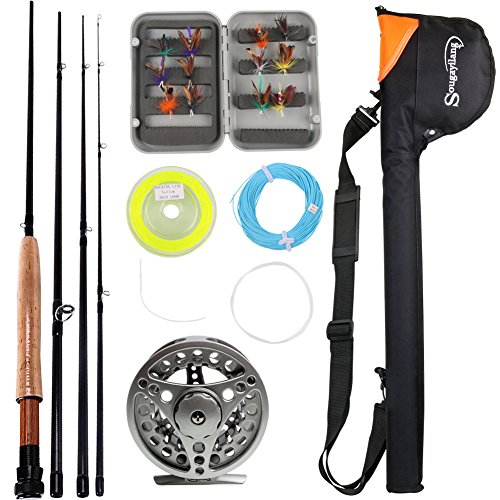 Sougayilang Saltwater Freshwater Fly Fishing Rod with Reel Combo Kit...