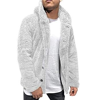 Landscap Men s Fuzzy Sherpa Fleece Hoodie Jacket Open Front Cardigan Casual Blouse Tops Coat Autumn Winter  Gray XXL