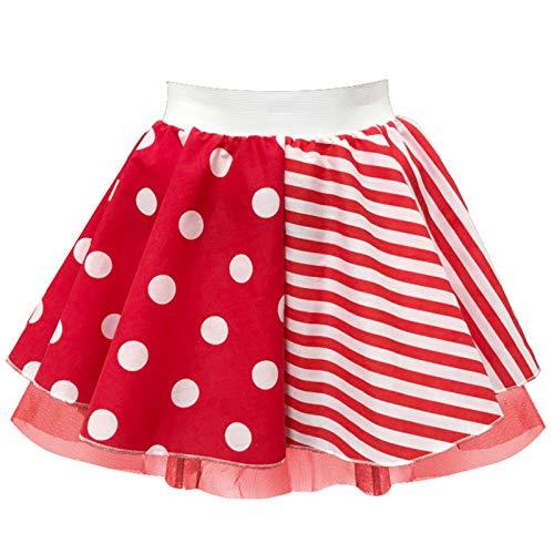 Inspired Costumes Damen Karnevalsrock – Rot und Weiß – halbe Streifen und halbe Punkte Gr. Taille 26 Small, rot