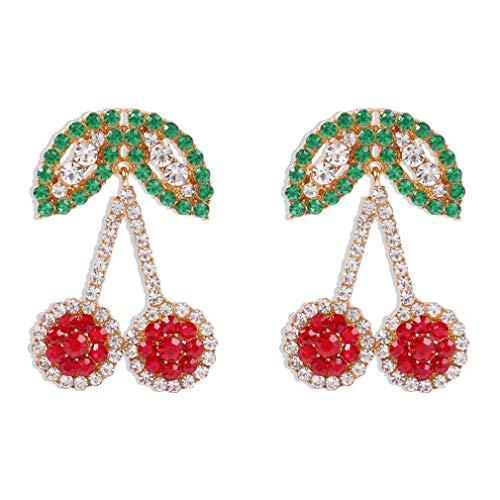 Ai.Moichien Pendientes Colgantes De Diamantes De Imitación Joyería Chapada En Oro Delicada De Cereza Accesorios Hipoalergénicos Brillantes Coloridos Para Mujer