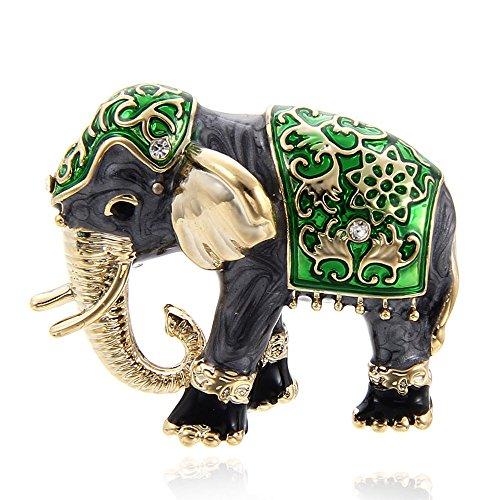SODIAL Schoene Bekleidungszubehoer Strass Brosche Emaille Brosche Modeschmuck Elefant Tierform Gruen