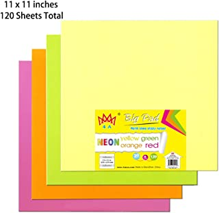 4A Sticky Big Pad,11 x 11 in,Large Size,Neon Yellow,Orange,Red and Green,Self-Stick Notes,30 Sheets/Pad,4 Pad/Pack,4A BP 1111-Nx4