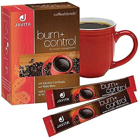 Burn + Control Coffee, Premium, 100% South American Arabica, Robusta Blend Coffee, Weight Management Herbs, Garcinia Cambogia and Yerba Mate, Javita 24 Ct