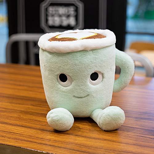 Creativo Matcha Latte Taza de café en Forma de Juguetes de Peluche de la Vida Real Kawaii Relleno Burbuja té muñeca Almohada Suave decoración de habitación Regalo para niños Verde 20cm