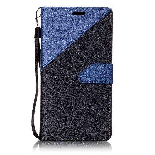 jbTec® Flip Case Handy-Hülle passend für Samsung Galaxy J3 2016 DUOS/SM-J320 - Book ZWEIFARBIG - Handy-Tasche Schutz-Hülle Cover Handyhülle Ständer Bookstyle Booklet, Farbe:Navy-Blau