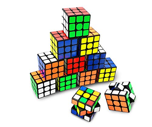 INTEGEAR 12 Pack Bulk Full Size 56mm Magic Speed Cube 3x3 Easy Turning and Smooth Play Durable Puzzle Cube Toy for Kids