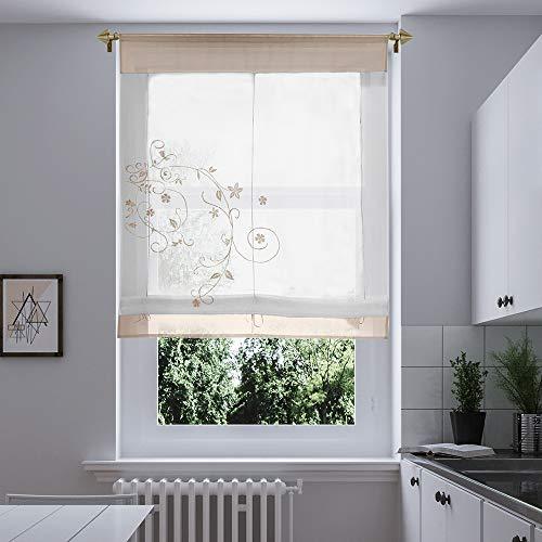 @Home Voile Raffrollo Raffgardinen mit Schlaufen Ösenrollo Fenster Vorhang Scheibengardinen für Fenster (Sandfarbe,80 * 100cm)