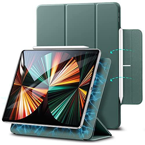 ESR Magnetische Hülle kompatibel mit iPad Pro 12.9 2021 (5.Generation) / 2020 (4.Generation), Auto Schlafen/Wachen, Smart Hülle mit Pencil 2 Unterstützung & Trifold Ständer, Waldgrün