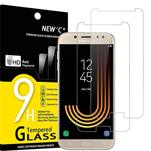 NEW'C 2 Unidades, Protector de Pantalla para Samsung Galaxy J5 2017, Antiarañazos, Antihuellas, Sin Burbujas, Dureza 9H, 0.33 mm Ultra Transparente, Vidrio Templado Ultra Resistente