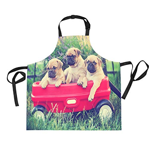 Mnsruu Delantal de cocina con diseño de perro carlino de dibujos animados de 70 x 73,9 cm con 2 bolsillos frontales para mujeres y hombres