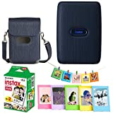 Fujifilm Instax Mini Link Smartphone Printer - (Dark Denim) + Fujifilm Instax Mini Twin Pack Instant Film (20 Sheets) + Protective Case for Mini Link Printer - Accessory Bundle