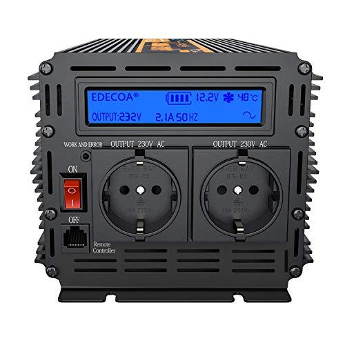 EDECOA Spannungswandler 12v 230v Wechselrichter 1500w Spannungswandler Reiner Sinus Bildschirm LCD mit Fernbedienung