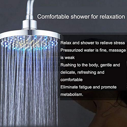 Shower Head,8 Inch Bathroom Shower Head Led Temperature Control Dome Spray Nozzle Self-Powered Colorful Self-Discoloring Nozzle Shower New,Bring You The Best Shower Experience,For Spa,Massage Spa