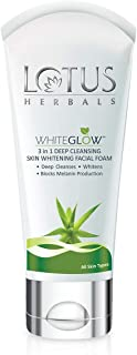 Lotus Herbals Whiteglow 3-In-1 Deep Cleansing Skin Whitening Facial Foam, 100g
