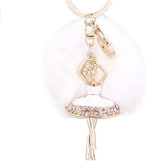 Creative Pom Pom Keychain Crystal Ballet Dancer Keyring Bag Charm Pendent