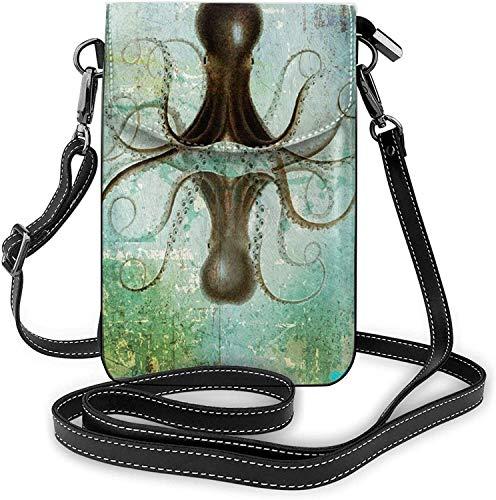 Moda Teléfono Celular Monedero De Calamar De Mar Vintage Náutico Pequeño Crossbody Bolsas De Las Mujeres Niña De La Pu Bolso De Hombro