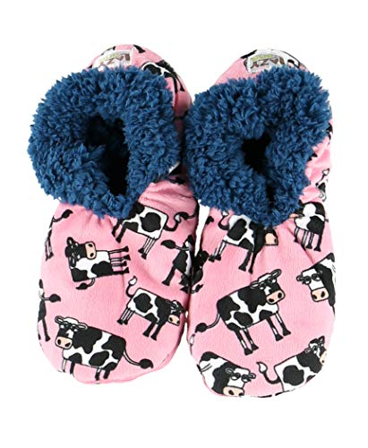 Lazy One Fuzzy Feet Slippers for Women, Cute Fleece-Lined House Slippers, Cow, Moody, Non-Skid