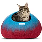 Feltcave Wool Cat Cave Bed (Large), Handcrafted from 100% Merino Wool, Eco-Friendly Felt Cat Cave for Indoor Cats and Kittens (Maroon&Aqua)