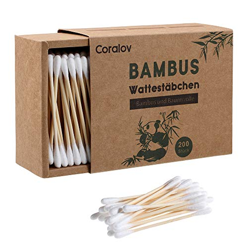 Bamboo Cotton Buds Swabs,Portable Ear Stick,Copes Well With Water,Individually Packaged for Traveling,Emergency Care Sanitary,Pack of 100